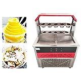 Rcherish Maker De Rollo De Helado Eléctrico, Máquina De Helado De Hielo Cuadrado De Acero Inoxidable para Yogurt, Bares, Cafés, Tienda De Postres