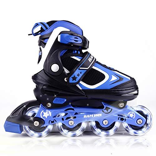MammyGol Adjustable Inline Skates for Kids with Light up Wheels,Flashing Beginner Roller Skates for Boys and Girls Size 5-8