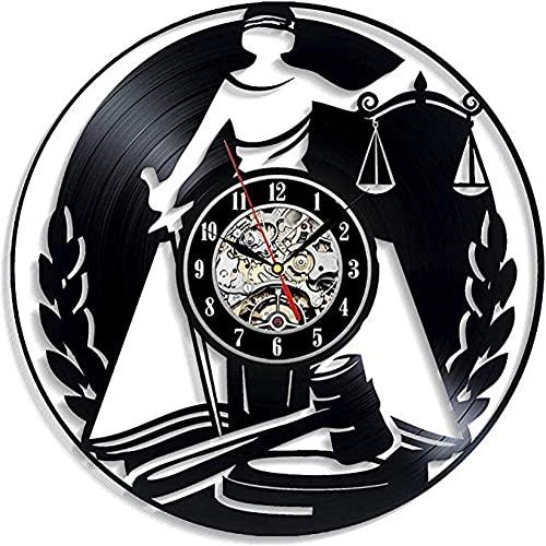 KDBWYC Ley Reloj de Pared de Vinilo Abogado Justicia Perfecta Regalo para Hombre Abogado o Amigos Decoración para Sala de Estar Oficina Regla Corte Legal