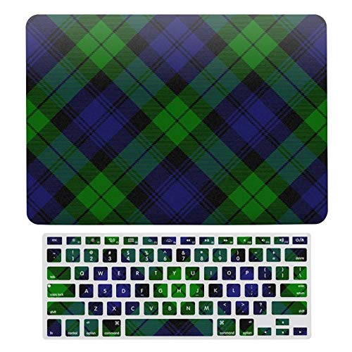 Funda para MacBook New Pro 13 Touch, carcasa rígida de plástico y cubierta de teclado compatible con MacBook New Pro 13 Touch, Campbell Clan Tartan Plaid Negro reloj portátil protector Shell Set