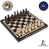 Amazinggirl ajedrez de Madera Damas - Conjunto Tablero ajedrez para niños Adultos Chess Juego Plegable portátil 42 cm