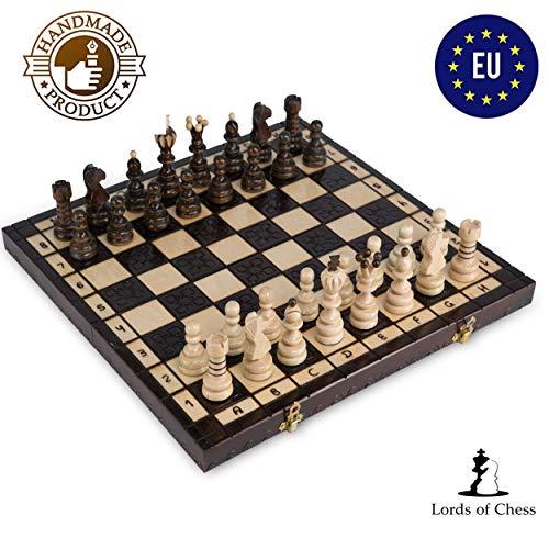 Amazinggirl Schachspiel Schach Holz Schachbrett - Chess Set für Kinder hochwertig groß klappbar mit Figuren (42X42 cm, Schach)