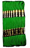 Anchor Cross Stich/Long Stich Embroidery Cotton Threads,Pack of 10, 8 Mt Each Skeins, Green (229)