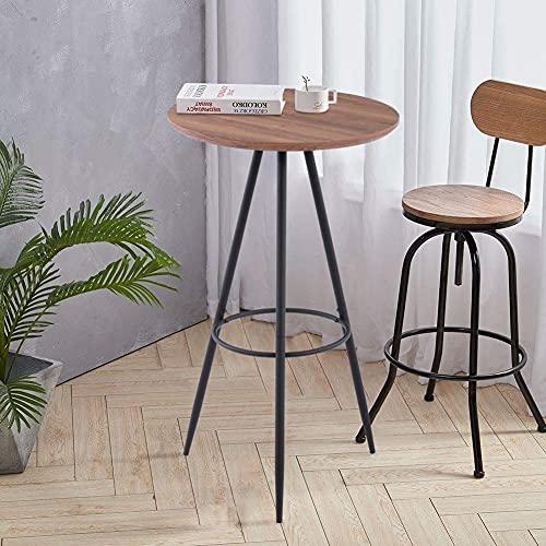 GOLDFAN Table Haute de Bar Table de Bistrot Bois Table Ronde Design Table Haute Et Pieds en Métal 60x60x100cm