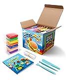 Sago Brothers Modelliermasse Lufttrocknend, Knete für Kinder in 24 Farben, Magische Lufttrocknende Knete für Fluffy Slime, Knetmasse für knete Zubehör & Kinder