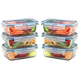 Glass Lunch Containers with Lids (Snap Locking) - Airtight & Leak Proof - BPA Free - Oven,...