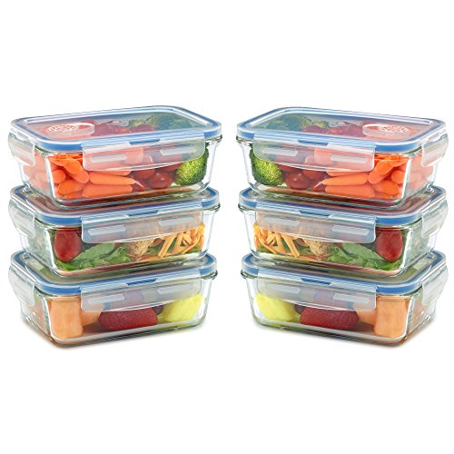 6 Pack Glass Meal Prep Containers for Food Storage and Prep w/Snap Locking Lids Airtight & Leak Proof - Oven, Dishwasher, Microwave, Freezer Safe - Odor and Stain Resistant (12 pieces)