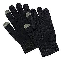 SellnShip Touch Screen Winter Gloves Warm Touchscreen Woolen Mittens for Men Women Children - Black Pair