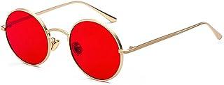 Inlefen Verres à monture ronde en métal Lunettes de soleil Vintage Circle pour hommes et femmes