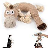 Geburun Dog Toy Plush Dog Toy,Interactive Puppy Squeaky Toys with Crinkle Paper and 4 Knots, Sturdy Dog Chew Toys Avoid Boredom Only for Puppy Dogs -Stupid Donkey