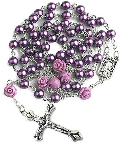 Nazareth Store La Perla Viola Cattolica Borda La Collana Del Rosario 6Pcs La Nostra Rosa Di Lourdes Medaglia & La Croce