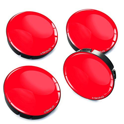 Biomar Labs® 4 x 60mm Silikon Nabenkappen Kappen Rot Felgendeckel Radkappen Radnabendeckel Nabendeckel Auto Tuning C 10