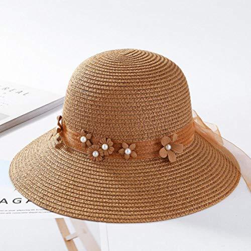 Sombreros de sol para mujer Corea Cinta Flor Sombrero de playa de ala ancha Sombrero de verano sólido para mujer Sombrero de paja perlado empacable para mujer-Caqui