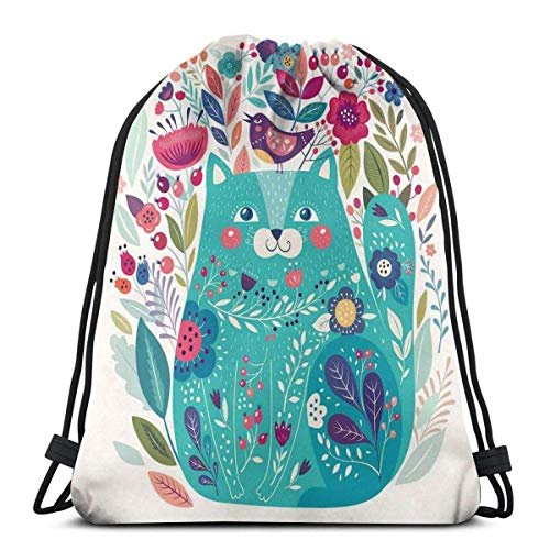 Odelia Palmer Printed Drawstring Backpacks Bags,Cute Kitty Surrounded By Birds Flowers Ladybugs Inspirational Folk Baby Theme,Adjustable String Closure
