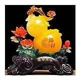 NYKK Productos de decoración Inicio Sala de Estar Entrada Calabaza Decoración de la TV Gabinete de Vino Wu Lou Desktop Decoration Store Apertura Regalo Feng Shui Lucky Statue Ornamento de Escritorio
