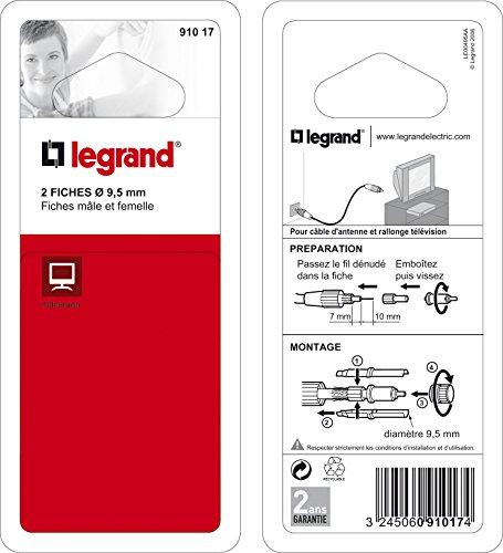 Legrand 091017 Fiches Télévision Coaxiales Normalisées, 1 Mâle, 1 Femelle, Ø9.52mm, Blanc