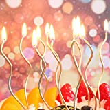 Twisty Birthday Candles Set,Metallic Colorful Curly Coil Candles,Creative Fun Long Thin Wedding Birthday Candles Set,Party Supplies,Cake Decoration,6 Pack (Gold)