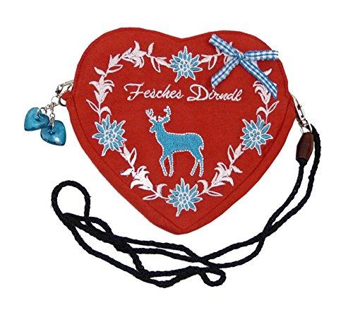 SR Damen Dirndltasche - Trachtentasche Herz Umhängetasche - Herztasche zum Dirndl (Fesches Dirndl Hirsch türkis (rot))