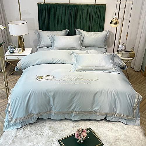 juego de ropa de cama 135x190-Satin Sheets Twin 4 piezas, Hojas de cama de lujo de lujo - Set de hoja de microfibra adicional 1800, arruga, Fade, resistente a las manchas-A_1,8 m de cama (4 piezas)