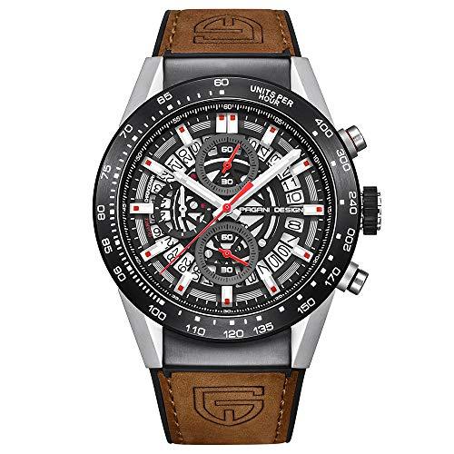 Pagani Design Reloj análogo analógico Casual de Negocios para Hombres de cronógrafo y Cuarzo para Hombres