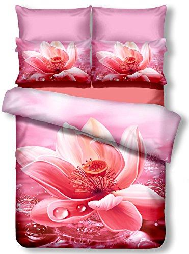DecoKing Premium 00786Cama (200x 220cm, con 2Fundas de Almohada 80x 80Amarant 3D Microfibra edredón de Cama Flores Flores Rosa nectario