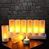 EXPOWER Flameless Candles - 12 Rechargeable LED Flickering Tea Lights + 12 Frosted Cups - Comes With Charging Base, No Battery Needed
