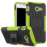 Smfu Funda Compatible Huawei Honor 5C/Honor 7Lite/GT3/GR5 Carcasa Rugged Híbrido Resistente Absorción Anti-arañazos Funda Absorción Impactos con Pie De Apoyo Caja [con Mica 2Unidades]-Verde