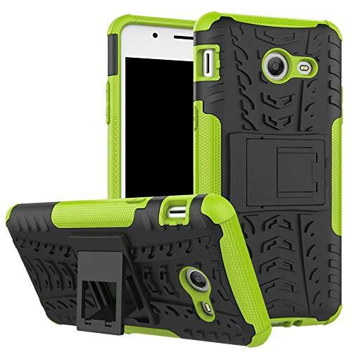 Smfu Funda Compatible LG Q60/K50 Carcasa Rugged Híbrido Resistente Absorción Anti-arañazos Funda Absorción Impactos con Pie De Apoyo Caja [con Mica 2Unidades]-Verde
