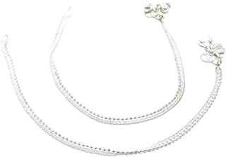 Ethnic Pakistani Indian Silver Tone Chain Payal Bollywood Anklet Pair with Bells
