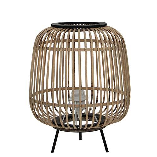Mica decoraties Nimes lamp, bamboe & metaal, bruin, zwart