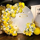 Bee Balloons Garland & Arch Kit, 122pcs Honeybee Theme Party Decorations Supplies, White Yellow Agate and Confetti Latex Balloons forWedding Birthday Bridal Baby Shower Anniversary Organic Party