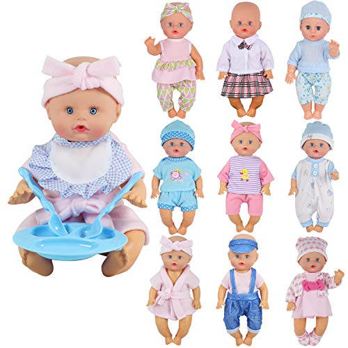 9 Sets for 9-10-11 Inch Alive Baby Doll Clothes Reborn Newborn Dress Outfits Clothing Costumes with Kitchen Accessory