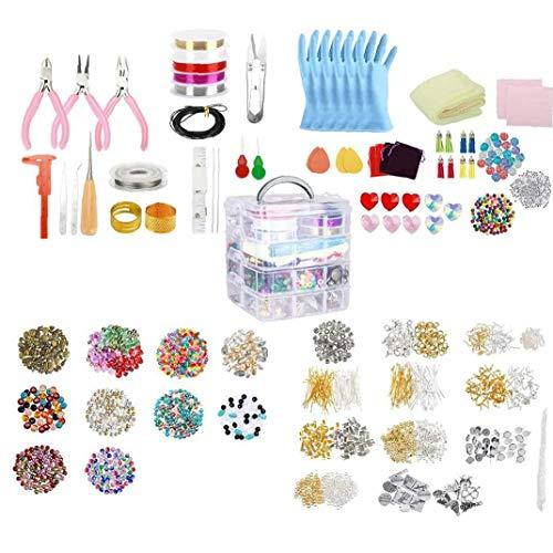 Suministros fabricación de Joyas Pendiente DIY Kit Set con Cuentas Alicates rebordeando el Alambre de la Pulsera del Collar Pendientes 2035PCS
