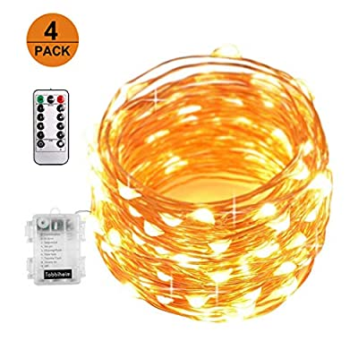 XINBAOHONG Battery Operated 4 Pack Fairy Lights, 50 LED 16.4ft Copper Wire Starry Rope Light, Waterproof Firefly String Light Indoor/Outdoor Decoration (Warm White)