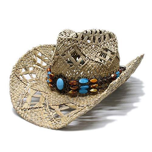 XueQing Pan Sombrero de Sol para Mujer, Estilo Vintage, de ala Ancha, para Playa, Vaquera, Vaquera, Estilo Occidental,...