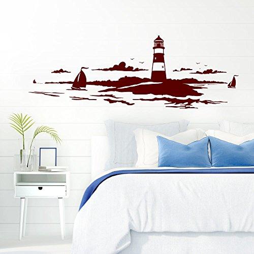 Grandora Skyline Küstenlandschaft Leuchtturm I dunkelrot 120 x 42 cm I Bad Wohnzimmer Schlafzimmer Aufkleber Wandaufkleber Wandsticker Modern W974