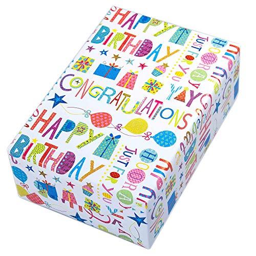 Geschenkpapier Geburtstag, 3 Rollen, Motiv Happy Birthday, buntes Schrift-Geschenkpapier mit Glitzer und Ballons. Der Glitter sorgt für den zusätzlichen Wow-Effekt. Toll auch für Kinder.