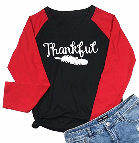 MAXIMGR Damen Baseball-T-Shirt, langärmelig, Raglan-O-Kragen, Splicing, Thanksgiving, Tunika, Top Bluse - Schwarz - XX-Large