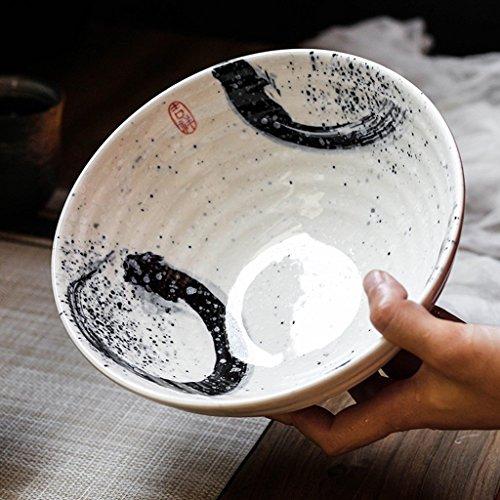 Gweat Japanischen Stil Kreative Vintage Keramik Salat Schüssel Persönlichkeit Ramen Tiefe Suppe Schüssel (Farbe : 1)