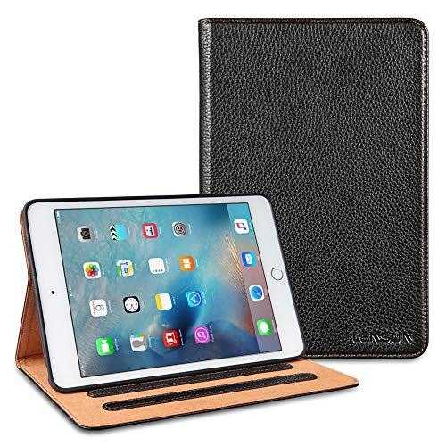 LENSUN iPad Mini 5 and iPad Mini 4 Case(7.9'),Tablet Genuine Leather Folio Stand Protective Cover Case with Multiple Viewing Angles and Auto Wake/Sleep Function for iPad Mini 5/4 -Black (IPM4-BK)