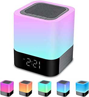 Altavoz Bluetooth con luz nocturna, reloj despertador, altavoz Bluetooth inalámbrico, reproductor MP3, control táctil, reg...