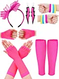 SATINIOR Women 80s Accessories, Headband, Neon Earrings, Fishnet Gloves, and Leg Glove for Halloween Cosplay (Set G)
