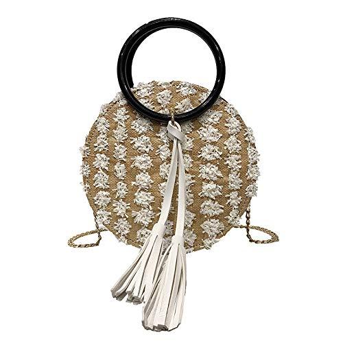 Iranio Damen Handtasche Schultertasche Umhängetasche Schultertasche Messenger BagGewebte Strandtasche aus Stroh, weiß