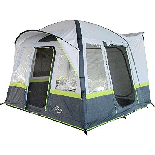 EXPLORER Zelt Luftzelt Trouper aufblasbares Familienzelt Mobilzelt 300x300x210cm (9m²) 4 Personen 3000mm Wassersäule freistehend wettergeschützter Eingang Camping Outdoor Wandern Familie