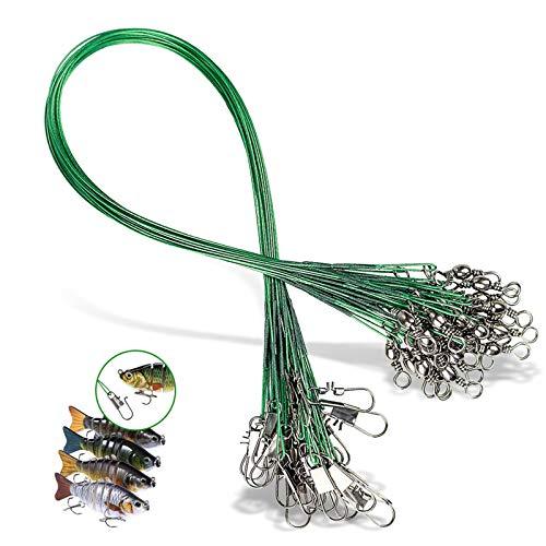 Cable del Líder de Pesca Línea de Alambre de Acero Líder Pesca Cable de Acero Alambre de Acero Inoxidable de Pesca Líderes Alambre Pesca con Giratorios y Broches para Pescar en el Mar 100 Piezas