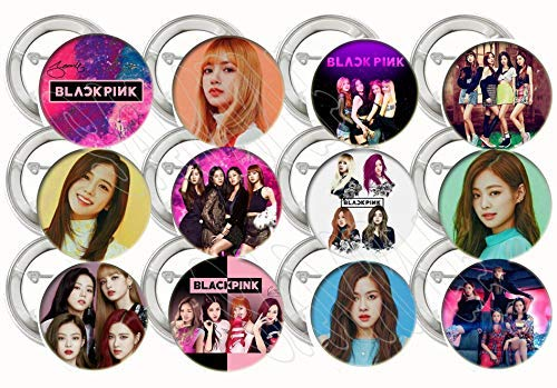 Black Pink Buttons K-pop Party Favors Supplies Decorations Collectible Metal Pinback Buttons Pins, Large 2.25