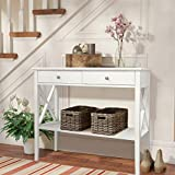 ChooChoo Console Sofa Table Classic X Design with 2 Drawers, Narrow Console Table for Entryway, Hall Console Tables Easy Assembly-White