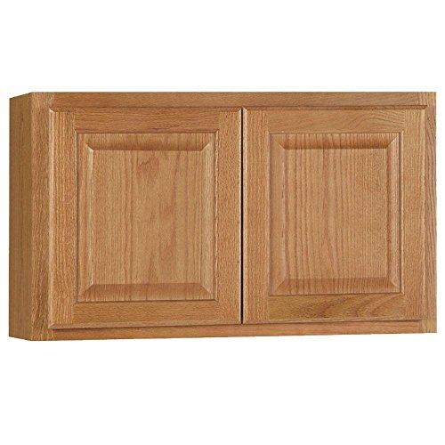 Hampton Bay Hampton Assembled 30x18x12 in. Wall Bridge Kitchen Cabinet in Medium Oak