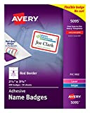 Avery Flexible Name Tag Stickers, Red Border, 400 Removable Name Badges, 2-1/3' x 3-3/8' (5095)
