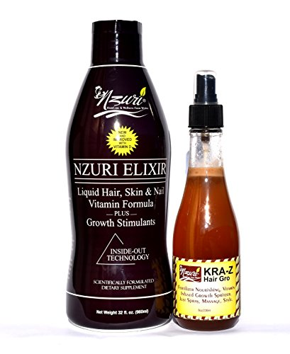Nzuri Elixir Hair Skin & Nail Vitamin For Dry, Dull, Lifeless, Thinning, Breaking and Damaged Hair - 32 oz + Nzuri Kra Z Hair Grow Nourishing, Vitamin Infused Growth Spritzer 8oz Combo Pack